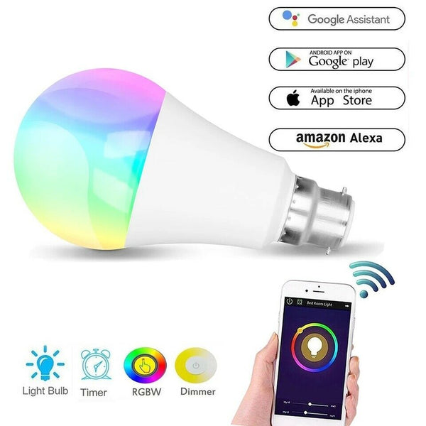 11W B22 LED Smart Dimmable Light Bulb Wireless WiFi Google Alexa Control RGB+W