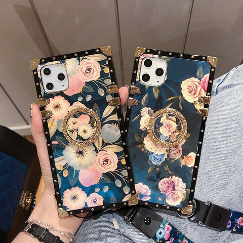Luxury Square Flower Ring Lanyard Cover Case for Apple iPhone 11 Pro Max XR XS X