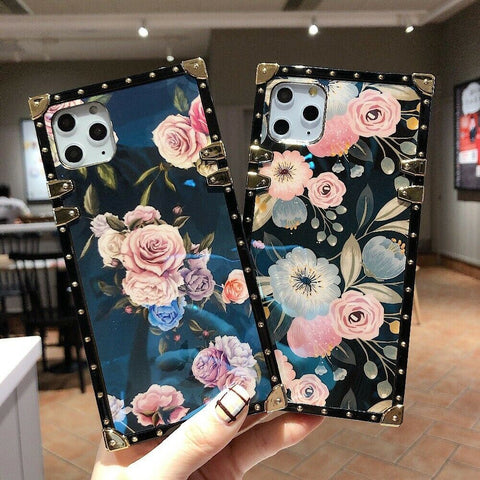 Luxury Square Flower Floral Print Gold Ring Holder Kickstand Lanyard Cover Case for Apple iPhone 11 Pro Max XS XR X