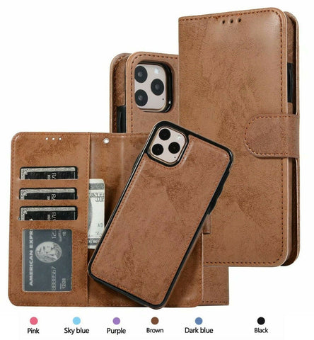 For iPhone 12 Case 12 Pro MAX 12 mini Magnetic Leather Removable Wallet Cover
