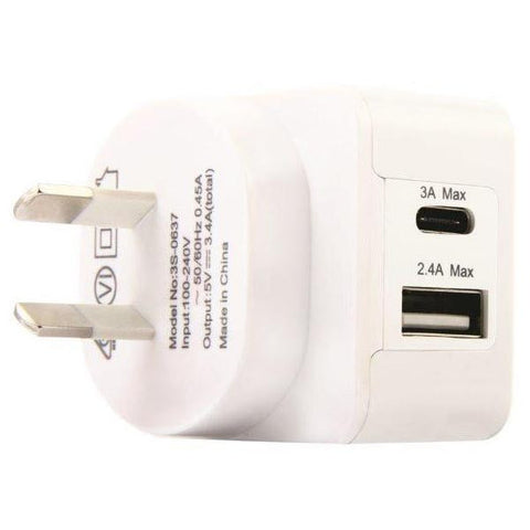 USB Wall Adapter - 3SIXT Dual Port USB AC Wall Charger AU Type C and Type A - White