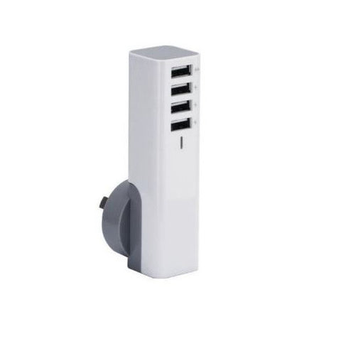 USB Wall Adapter - 3SIXT Quad USB AC Wall Charger AU 4.8A, 4 Port - White
