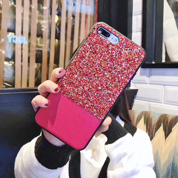 Shockproof Bling Glitter Leather Thin Case Cover For Apple iPhone X 8 7 Plus 6S