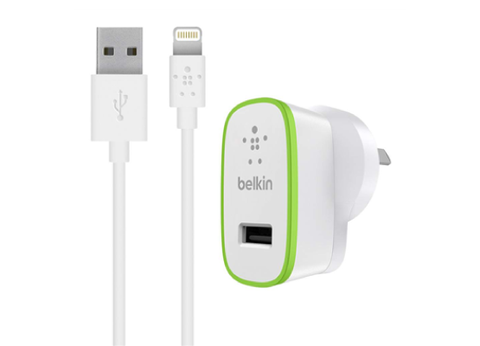 Belkin Boost Up 12W Wall Charger Adapter with Lightning Charge/Sync Cable