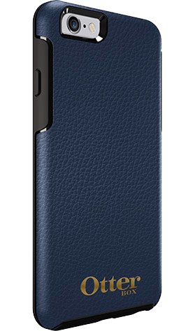 Cases, Covers, Skins - OtterBox Symmetry Leather Case Suits IPhone 6 Plus/6S Plus - Navy Blue W/ Gold Logo