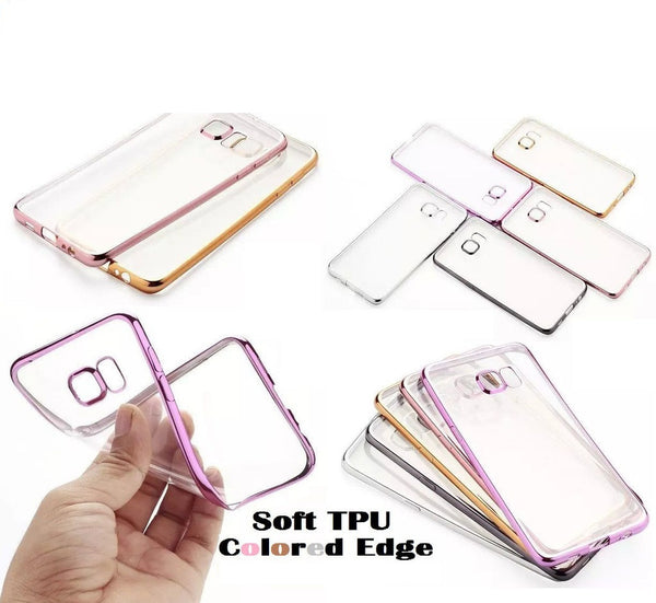 RKSYNC Samsung Galaxy S6 EDGE PLUS Clear TPU Soft Case Cover Electroplate Bumper