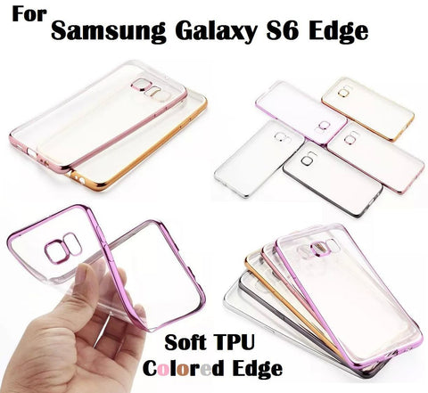 Cases, Covers, Skins - Shockproof Samsung Galaxy S6 EDGE Clear TPU Soft Case Cover Electroplate Bumper
