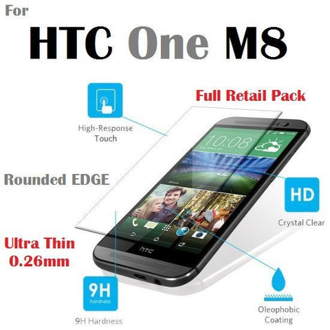 Cases, Covers, Skins - Tempered Glass Ultra Thin Film Screen Protector For HTC One M8 With Retail Packaging - AU