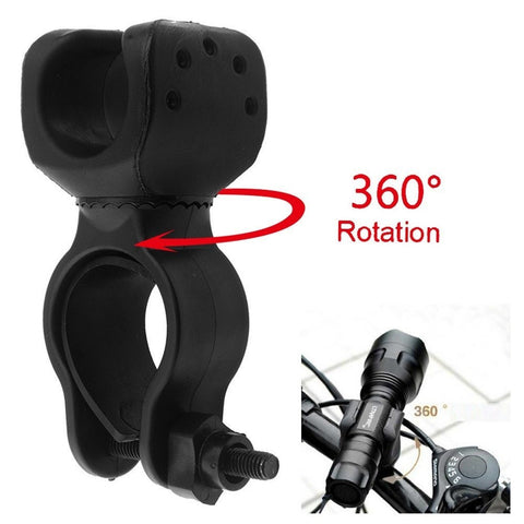 Flashlights - Cycling Bike Bicycle Front Light Clip Flashlight Holder 360 Degre Rotation