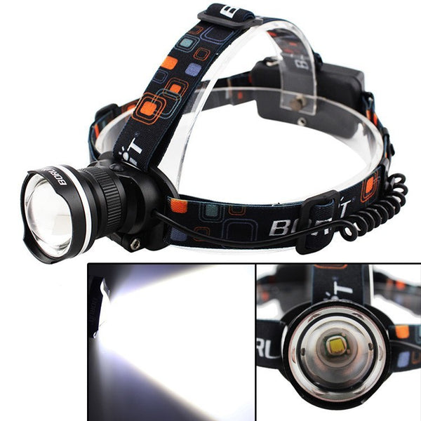 Head Torches - Brightest LED Head Torch Waterproof 2000 Lumen CREE XM-L T6 Headlamp 2x18650 Camping/Outdoor
