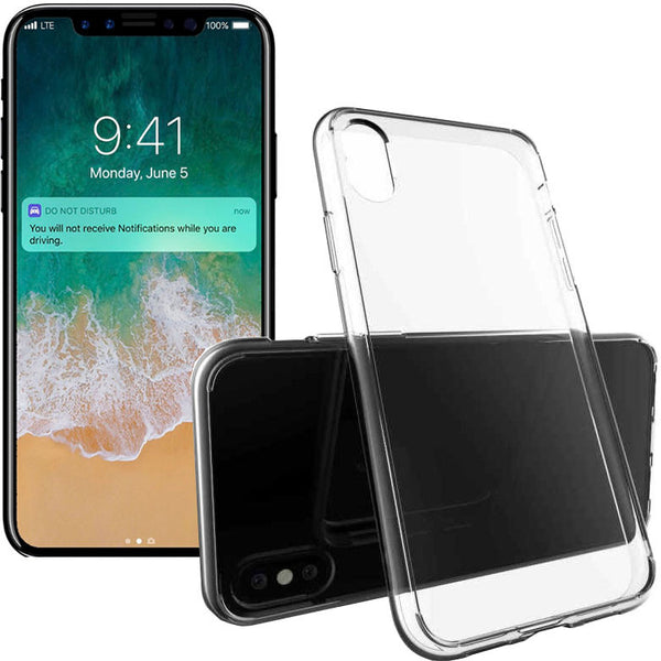 iPhone Xs X Case, RKSYNC Clear Soft Transparent TPU Gel Cover For Apple