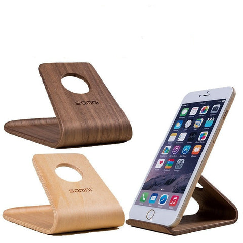 Mobile/Tablet Stands - Universal Wooden Mobile Phone Desktop Stand Holder IPhone 6s/6 Plus Samsung Sony