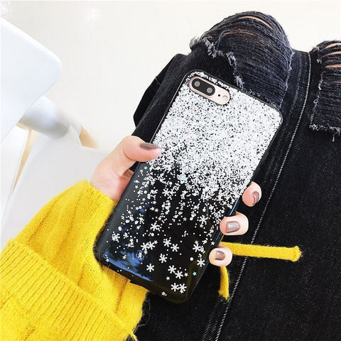 Shockproof Tough Snowflake Bling iPhone 6S 8 7 Plus XS Soft Case Cover for Apple