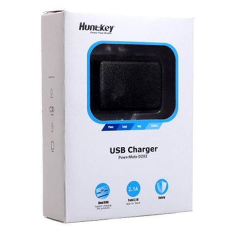 USB Wall Adapter - Huntkey 5V 2.1A USB Dual Output Wall Charger Power Mate D202