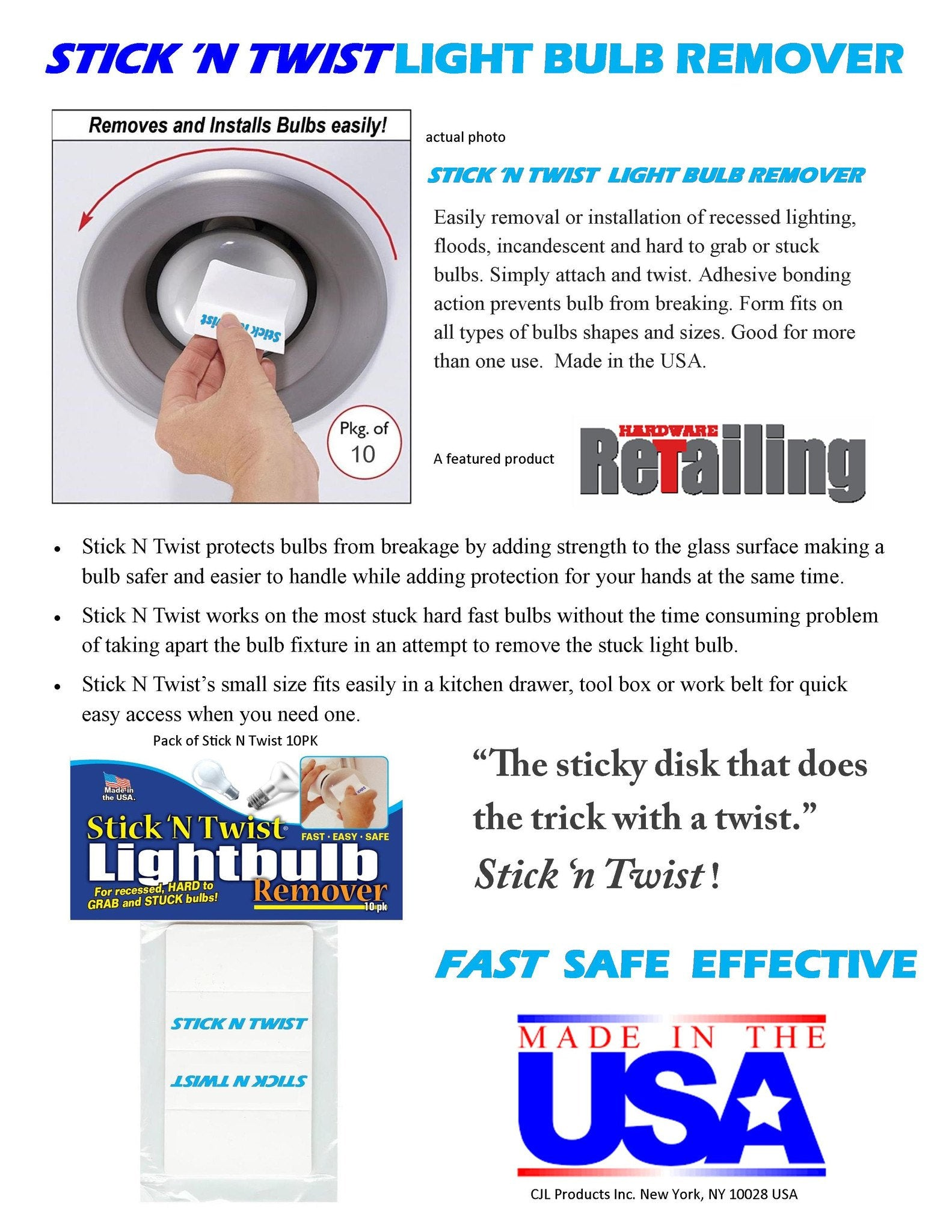 Stick n twist light bulb remover 10 pack aloadofball Image collections