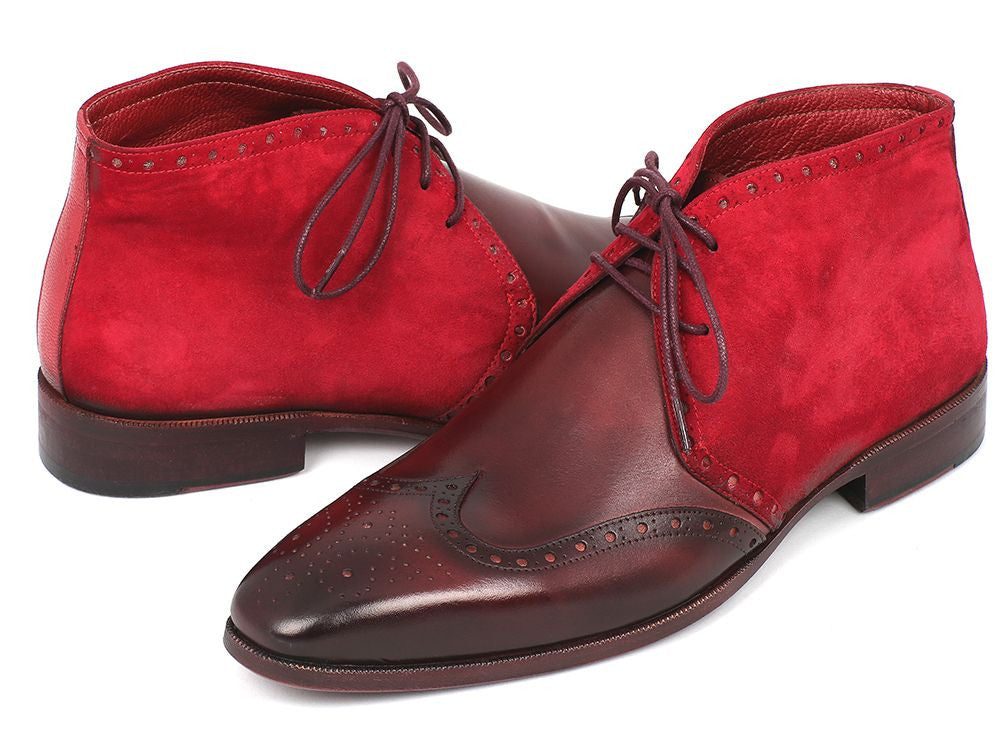 Paul Parkman Handmade Shoes - Men's Chukka Boots Bordeaux Suede & Leather