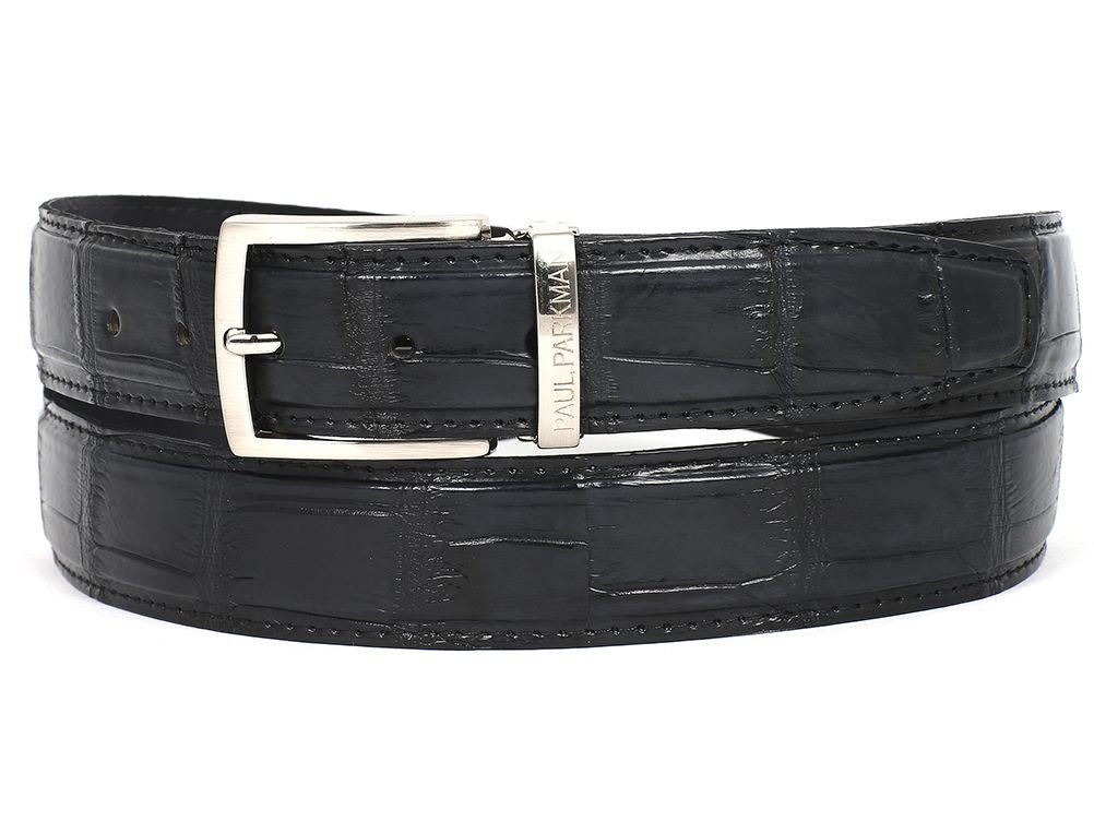 PAUL PARKMAN Men's Black Genuine Crocodile Belt (ID#B05-BLK)