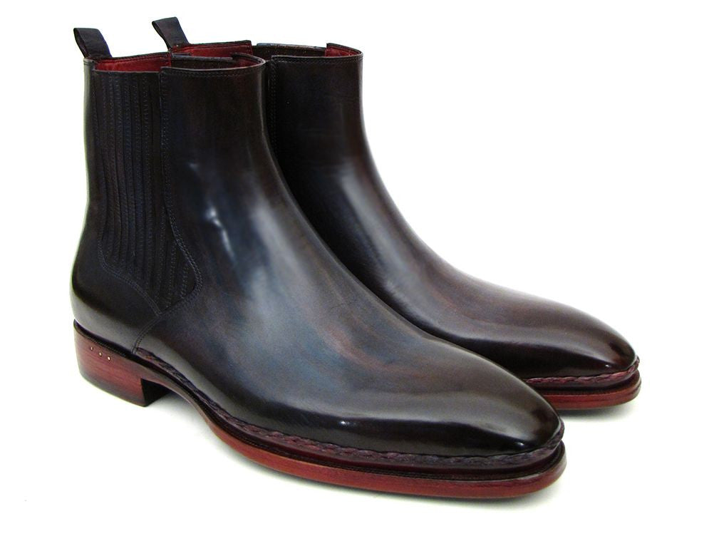 Paul Parkman Handmade Shoes - Men's Chelsea Boots Navy & Bordeaux