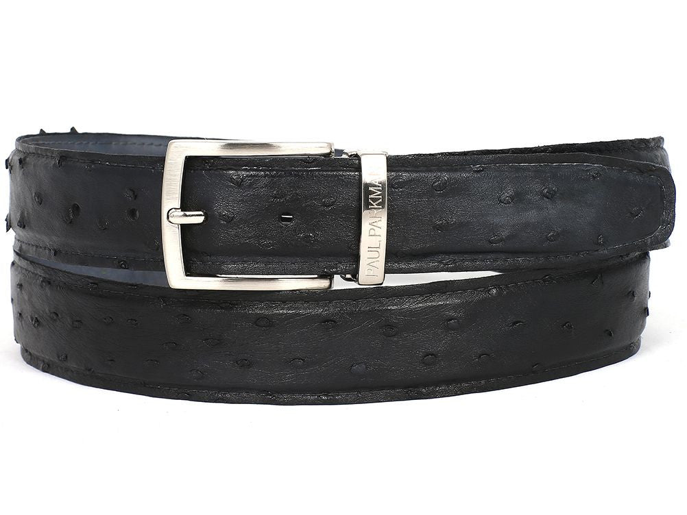 PAUL PARKMAN Men's Black Genuine Ostrich Belt (ID#B04-BLK)