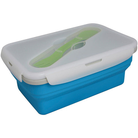 Collapsible Single Compartment Food Container, 4 Cups, Blue - Uncollapsed