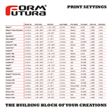 Formfutura® - ReForm - rPLA, rPET, and rTitan: Spools Printer Settings Chart