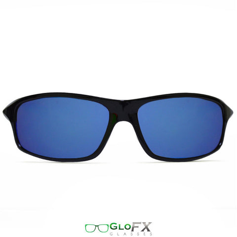 GloFX - Sport Style Diffraction Glasses – Black – Blue Mirror Front