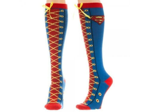 Knee Socks: Superman - Lace Up