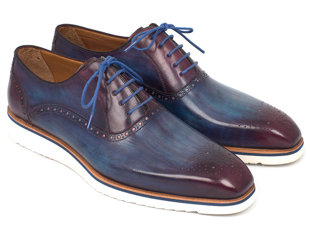 Paul Parkman® Handmade Boots - Smart Casual Oxford Shoes For Men Blue & Purple