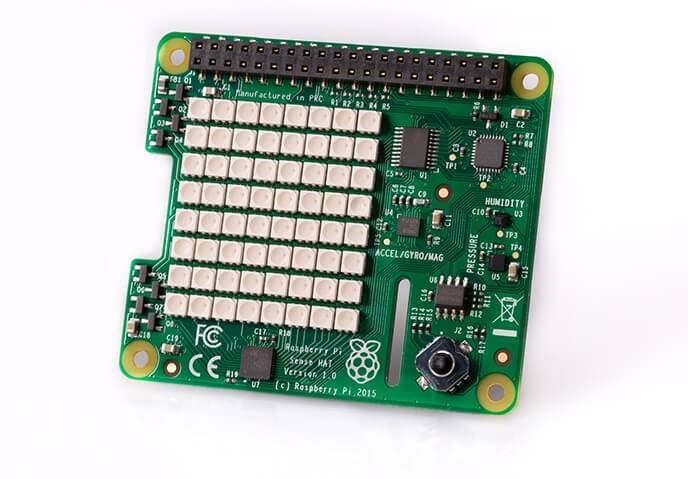 Raspberry Pi® - Sense HAT for, Robotic & Indust. Sensors + LED Matrix-OFFICIAL_IMAGE