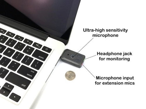 Titanium Edition: The Sounds Professionals® - Ultra High Gain Miniature Mono USB Omnidirectional Microphone and Headphone amplifier