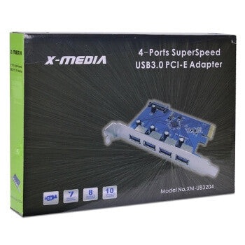 X-Media XM-UB3204 V3.0 4-Port SuperSpeed USB 3.0 PCI Express (PCIe) Adapter Packaging