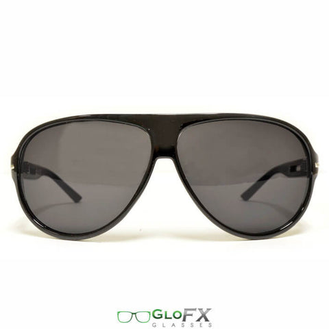 GloFX - Aviator Style Sunglasses - Black: Front view
