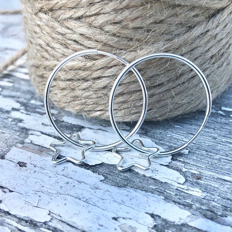 Continuous 20mm Hoop Sterling Silver Earrings with Teeny Tiny Star Outline
