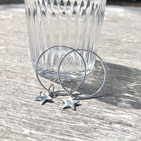 Continuous Hoop Sterling Silver Earrings with Teeny Tiny Star 30mm