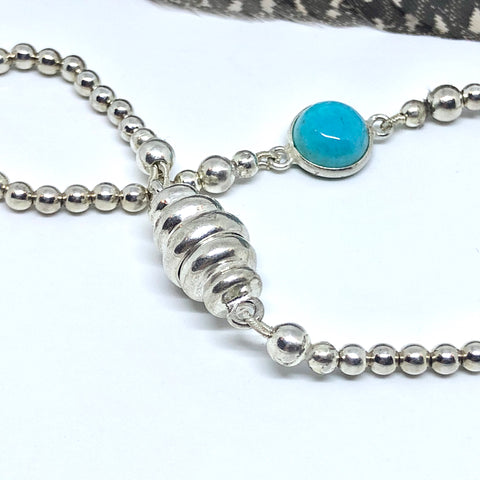Turquoise Silver Bracelet with Magnetic Bumble Bee Clasp