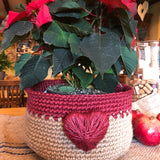 Red Jute Storage Display Basket with Large 3D Heart Handmade