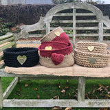 Red Jute Storage Basket with Hammered Brass Heart Handmade