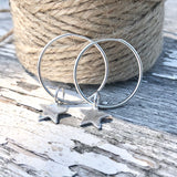 Continuous Hoop Sterling Silver Earrings with Teeny Tiny Star 20mm