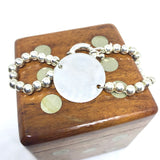 Sterling Silver Bracelet with Large Round Flat Disc and Chunky Clasp