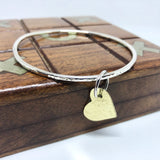 Chunky Hammered Silver Bangle with Brass Hammered Heart Handmade