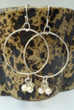 Sterling Silver Hoop Earrings with Creamy Pearls (7.5mm)