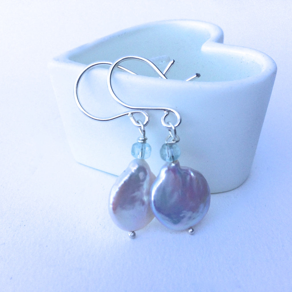 Coin Pearl and Aquamarine Sterling Silver Drop Earrings
