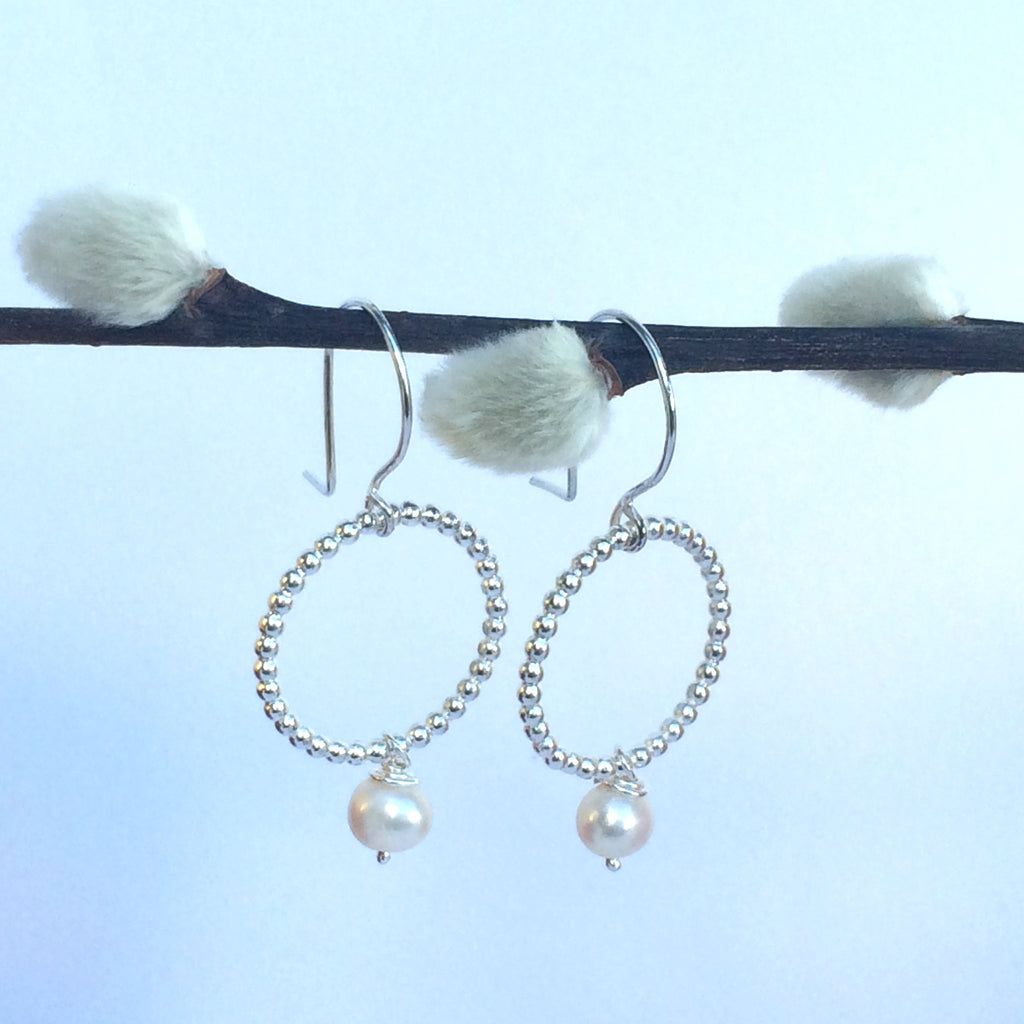 Pearl and Beaded Sterling Silver Small Hoop Earrings