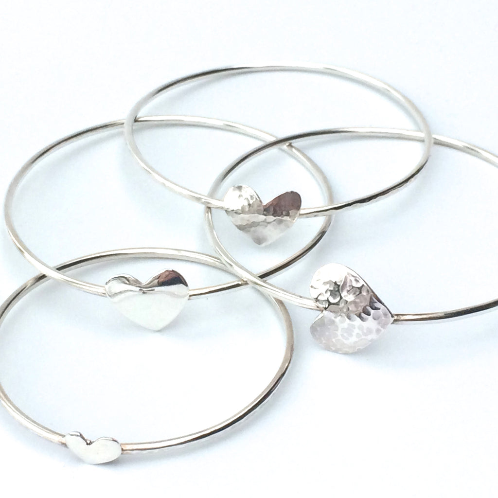 Sterling Silver Bangle with Silver Heart - Hammered or Polished