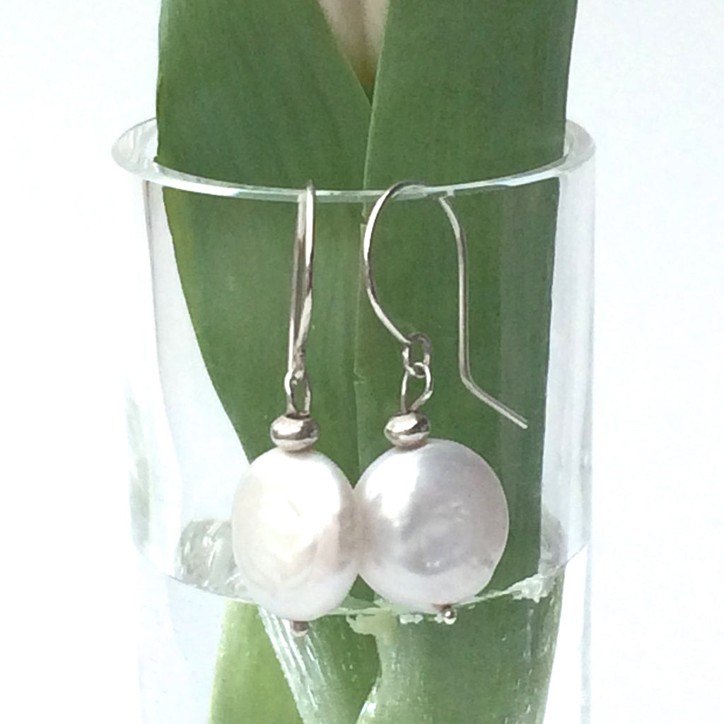 Coin Pearl Earrings with Sterling Silver Hooks - Handmade Drop Earrings
