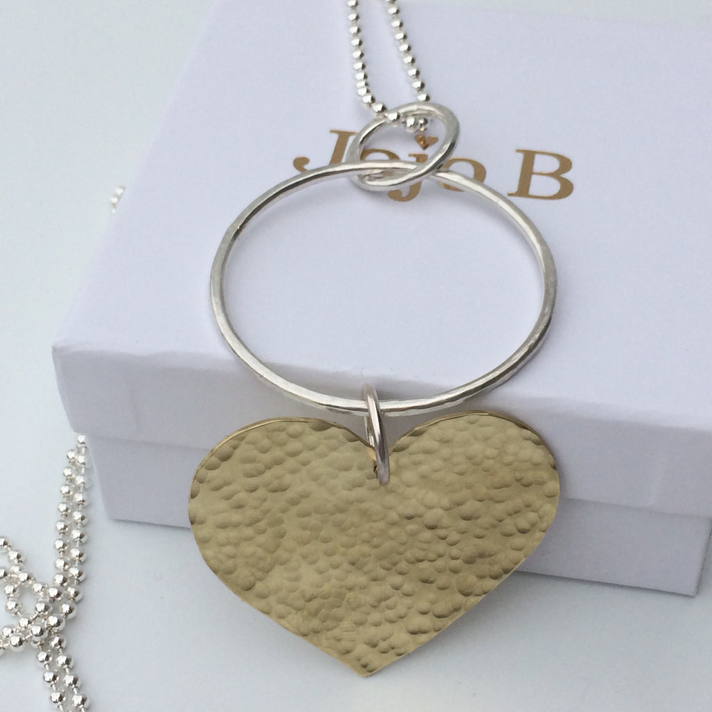Long Sterling Silver Necklace with Large Hammered Brass Heart