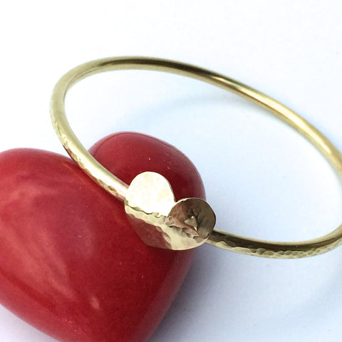 Hammered Brass Bangle with Beaten Brass Heart, Handmade and Stackable