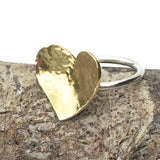 Sterling Silver and Brass Cocktail Ring - Large Hammered Heart