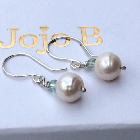 Pearl and Aquamarine Silver Hook Earrings