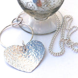Long Silver Ball Chain with Large Hammered Heart Pendant